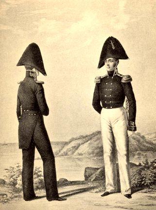 Обер-офицер и штаб-офицер Гвардейского экипажа. 1810г. В зимней и летней форме.