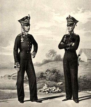 Унтер-офицер и бомбардир Артиллерийской команды Гвардейского экипажа. 1812–1816гг.