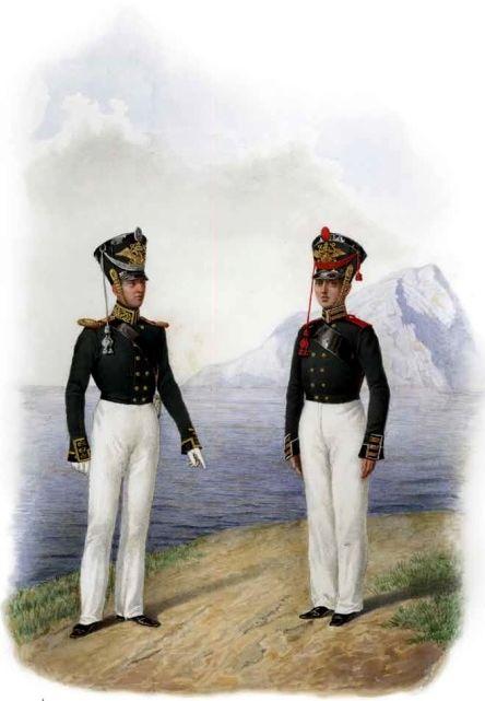 Обер-офицер и канонир Артиллерийской команды Гвардейского экипажа. 1817–1823гг. Из собрания ЦВММ. 3421/39.