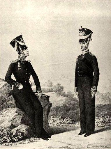 Обер-офицер и унтер офицер Гвардейского экипажа. 1824–1825гг. Из собрания ЦВММ.