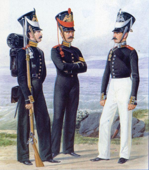 Матрос, канонир Артиллерийской команды и унтер-офицер ластовой роты Гвардейского экипажа (слева направо). 1826–1828гг. Из собрания ЦВВМ. 3421/40.