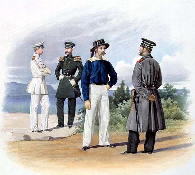 Обер-офицер, штаб-офицер, матрос и унтер-офицер Гвардейского экипажа. 1855–1870гг. Из собрания ЦВММ.