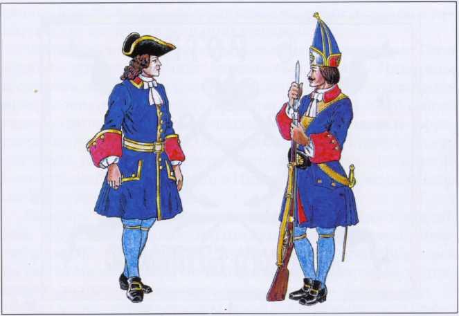 Обер-офицер морских батальонов и рядовой Морской гренадерской роты. 1728–1729гг. Рек. В.Ф. Мезенева.