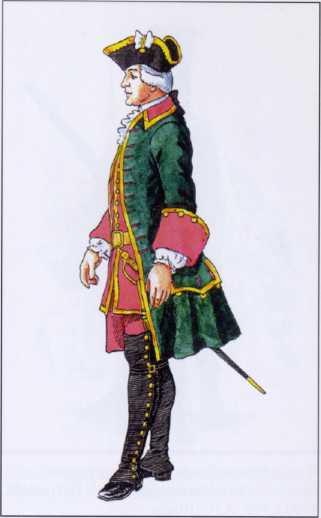 Штаб-офицер морских полков. 1735г. Рек. В.Ф. Мезенева.