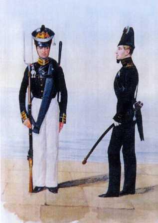 Обер-офицер в вицмундире и матрос ГЭ. 1817–1823гг. Из собрания ЦВММ.3421/38.