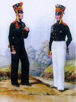 Бомбардир и унтер-офицер Артиллерийской команды ГЭ. 1811г.Из собрания ЦВММ. 3421/32.
