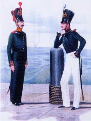 Обер-офицер и бомбардир Артиллерийской команды ГЭ. 1828–1830гг. Из собрания ЦВММ. 3421/48.