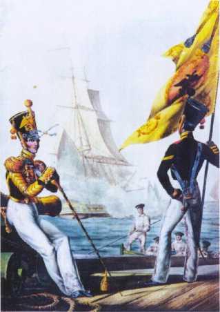 Тамбурмажор и знаменщик ГЭ. 1830–1840гг. Из собрания ЦВММ.