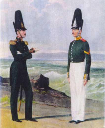 Штаб-офицер Артиллерийской роты и матрос Ластовой роты ГЭ.1844–1855гг. Из собранияЦВММ. 3421/59.