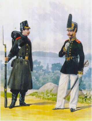 Фельдфебель ГЭ в летней форме и матрос ГЭ в походной форме. 1858–1862гг. Из собрания ЦВММ. 3421/69.