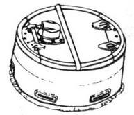 образца 1944 года цилиндрической формы с двухстворчатой крышкой: