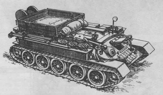 Тягач Т-34Т с комплектом такелажного оборудования, грузовой платформой, кран-стрелой и комплектом вспомогательных приспособлений для ремонтных работ