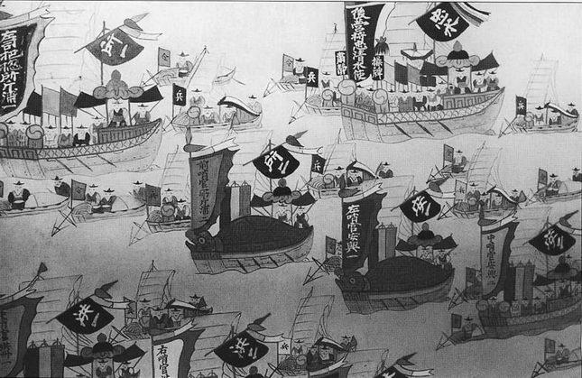 Корейский флот, раскрашенная ширма, XVIIIв. период моды на корабли-черепахи.
