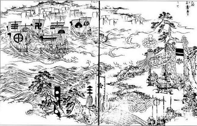 Тоётами Хидеёси следит за тем, как его войска высаживаются в Корее, фрагменты из Эхон Тайкоки.