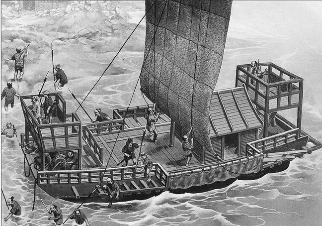 Банда пиратов-ваков высаживается на побережье Кореи, 1380г.
