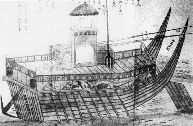 Паноксон — стандартный боевой корабль корейского флота во время корейско-японской войны. У него две палубы и палубная надстройка. На нижней палубе находятся гребцы, на верхней — солдаты. Обратите внимание на дракона на борту корабля. Паноксоны всегда были более многочисленны, нежели корабли-черепахи.
