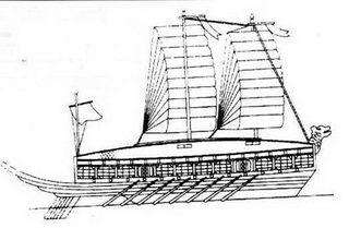 План и вид сбоку на кораблъ-черепаху. В основе рисунка чертежи 1975г., которые служат отправной точкой для всех последующих реконструкций.