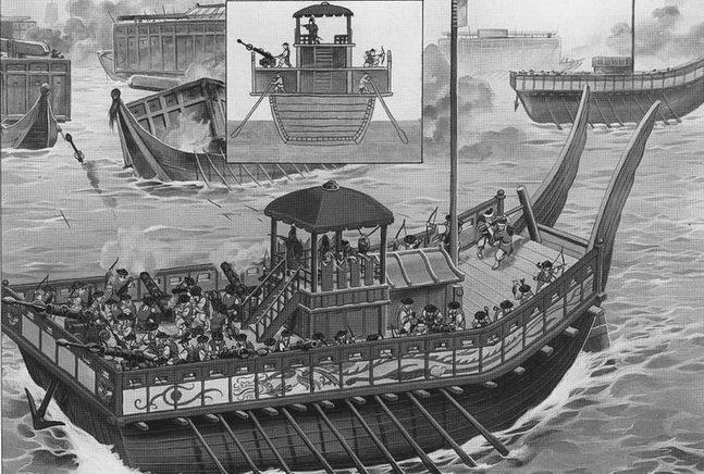 Корейский корабль-паноксон ведет огонь большими стрелами но японской эскадре, сражение при Окнхо, 1592г.