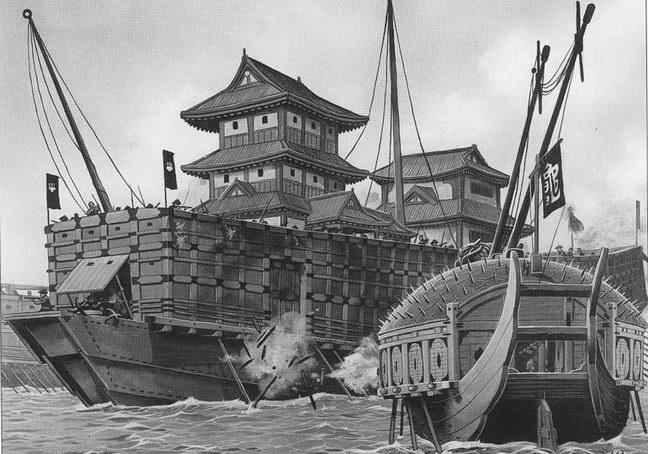 «Нихон-мару», флагман японского флота ведет бои с кораблем — черепахой при Лнгольпхоу 1592г.