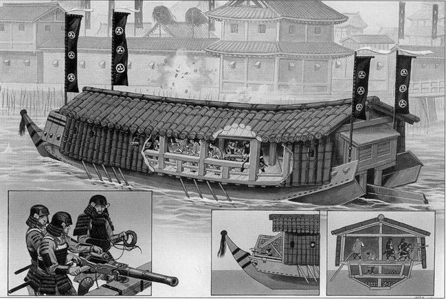 Мекура-буне ведет обстрел передовых укреплений замка Осака, 1614г.