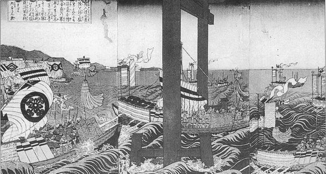 Сражение при Миядзиме, 1555г. Флот Мори проходит через большие синтоистские вороти (тории).