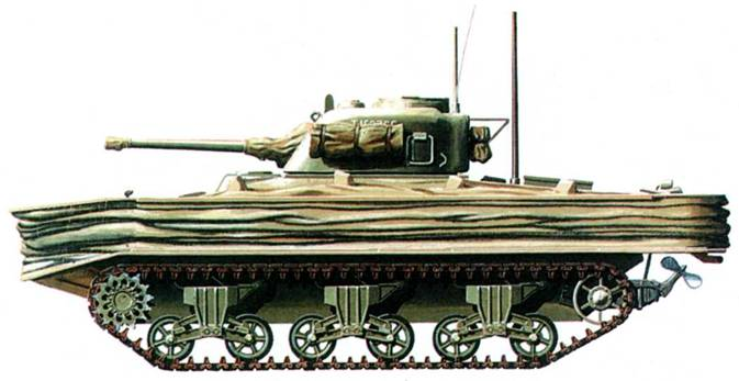 «Шерман DD» со сложенным экраном для преодоления водных преград. Экран закрывал носовой пулемет, что снижало боевую эффективность танка.