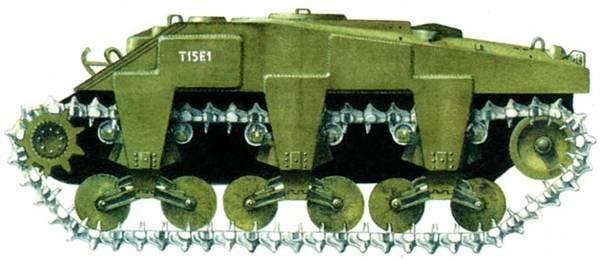 Танк-тральщикТ15Е1 был разработан в попытках создать машину, способную проехать по минному полю. Затратная программа закончилась безрезультатно.