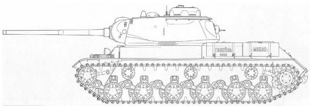 Боковая проекция ИС-85 выпуска января 1944 г.