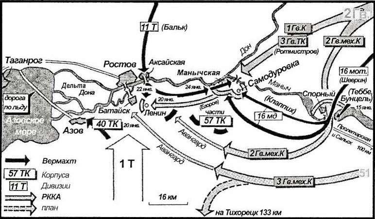 Карта 10. Батальон Клапиха выступил па Самодуровку, не позволяя 2-й гвардейской армии прорваться к переправам в Ростове. Немецкие дивизии выиграли время, атаковали советские передовые части в Малиновской и разбили их. Таким образом, Ростов был сохранен для отступления 1-й танковой армии.
