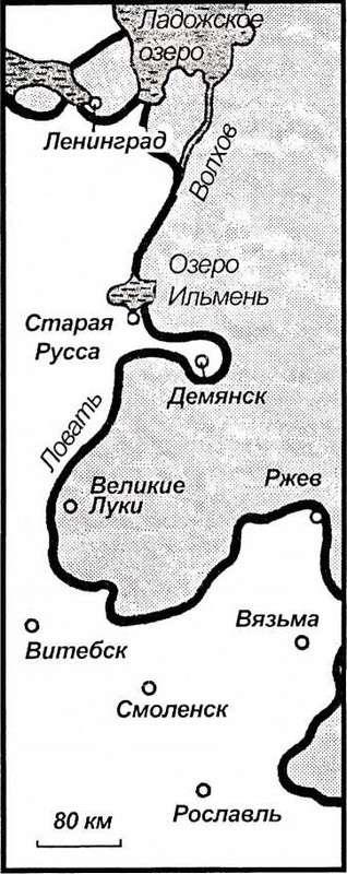 Карта 24. По всему Восточному фронту сложилась напряженная обстановка. Атакам русских у Ленинграда, Старой Руссы, Великих Лук, Ржева противостояли лишь наскоро собранные немецкие части.