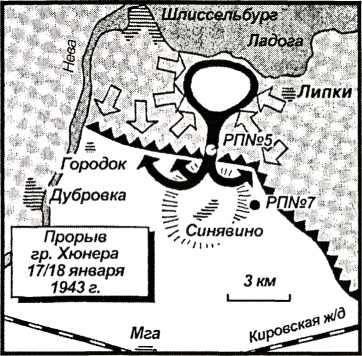 Карта 26. Генерал Хюнер удерживал Поселок № 5, пока все немецкие части, находившиеся севернее, не прошли на юг.