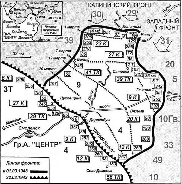 Карта 31. Чтобы удержать ржевский выступ, требовалось двадцать девять дивизий.В результате операции «Движение буйвола» весной 1943 года линия фронта сократилась, и двадцать две дивизии были спасены. Таким образом, появился солидный резерв.