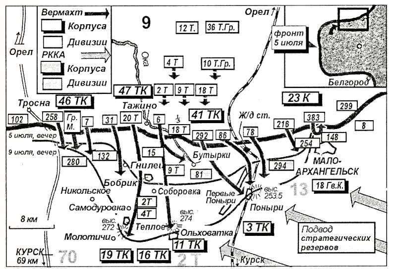 Карта 3. На севере курского выступа 9-я армия Модели натолкнулась на прекрасно организованную оборону. Германский 23-й армейский корпус, чьей задачей было прикрыть левый фланг наступления, был остановлен недалеко от Малоархангельска. Танковый корпус овладел плацдармом ни холме около Ольховатки.