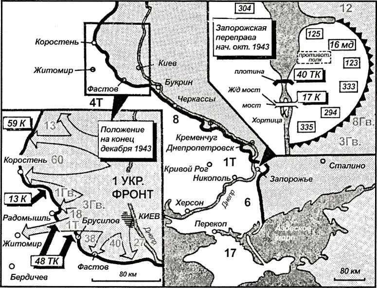 Карта 39. Обходя Киев, танковая армия Рыбалко нацеливалась на линии снабжения группы армий Манштейна. Критическая ситуация создалась также на Запорожском плацдарме. В ночь с 14 на 15 октября генерал Хайнрици был вынужден отдать приказ взорвать электростанцию и плотину.