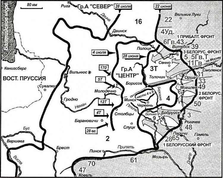 Карта 48. 22 июня 1944 года русские начали общее наступление на выступ группы армий «Центр». «Укрепленные районы» Витебск, Орша, Могилев и Бобруйск были взяты в клещи, но основная часть наступающих советских войск продолжила движение на запад. Таким образом, гитлеровская стратегия «укрепленных районов» потерпела крах: слабый фронт обрушился, главные силы 4 и 9-й армий оказались окружены между Минском и Березиной. Напрасно Модель, вновь назначенный командующий группой армий, старался стабилизировать отсечный рубеж между Барановичами и Двиной посредством контратак спешно подтянутых дивизий. Через пять недель после начала своего наступления русские уже были на Висле и у границ Восточной Пруссии.