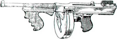 Пистолет-пулемет системы Томпсона обр. 1921 г. с коротким стволом и дисковым магазинам. Приклад снят