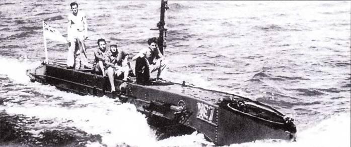 Британская сверхмалая подводная лодка тип ХЕ-6 на испытаниях в заливе Рочестер, август 1944г.