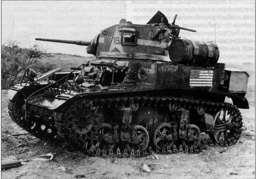 """М3А1 из 3-го взвода роты """"С"""" 1-го батальона 1-го танкового полка 1-й танковой дивизии армии США, подбитый в ходе сражения в проходе Кассерин. Тунис, февраль 1943 года"""
