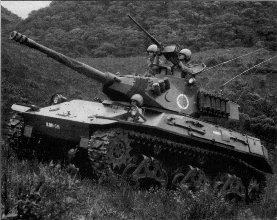 "Наследник ""Стюарта"" — бразильский легкий танк Х1А2, вооруженный 90-мм пушкой Cockerill. Начало 1990-х годов"
