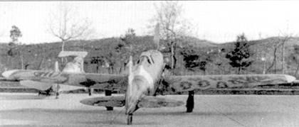 Вид сзади на истребитель C. 202 «84-1», самолет прослужил меньше года. Обратите внимание — к нему уже приспособили левую плоскость крыла от другого самолета (другой рисунок камуфляжа).