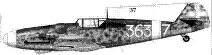 37. Bf.109G-6 Wk-Nr 18421 командира 363-й эскадрильи 150 Gruppo Autonomo тененте Уго Драго, Скиачча, июнь 1943г.
