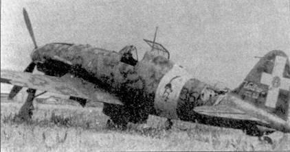 Одним из новых типов истребителей, поступивших на вооружение в последние месяцы существования Regia Aeronautica стал самолет Макки C.205V, который немедленно завоевал сердца итальянских летчиков-истребителей. На снимке — самолет первой производственной серии, на нем отсутствует 20-мм пушка Маузер. Этот истребитель принадлежал 360-й эскадрилье 155-й группы 51 Stormo, он принимал участие в безуспешной обороне Сардинии летом 1943г.