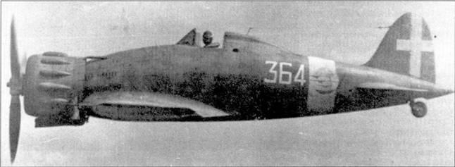 Вооруженная истребителями с. 200 150-я группа также принимала участие в греко-албанской кампании. Сначала группа работала с аэродрома Валони (южное побережье Албании), затем перелетела в Араксос, а после капитуляции Греции — в Атини-Татои. На снимке — самолет т состава 364-й эскадрильи; истребители С.200 и С.202 состояли на вооружении этого подразделения вплоть до замены их «мессершмиттами» в апреле 1943г. Большую часть войны эскадрильей командовал Марио Биллагамби (14 побед).