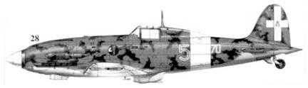 28.С. 202 серии X командира 70-й эскадрильи 23 Gruppo 3 Stormo капитана Клаудио Соларо, Тунис, январь 1943г.