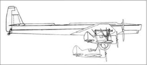 Проект составного самолёта ТБ-3 4М-34РН+ 3 И-16М-25 («Звено-7»).Предусматривалось присоединение в полете как одного(подфюзеляжного), так и всех трёх истребителей. Из-за выявившейся на испытаниях в 1938г. сложности подцепки проект не получил развития.