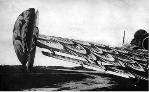 Крыло самолёта. Видна подвешенная под крылом рулевая поверхность с триммером