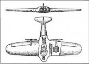Чертеж истребителя с лежащим лётчиком из публикации Б.Н. Юрьева.
