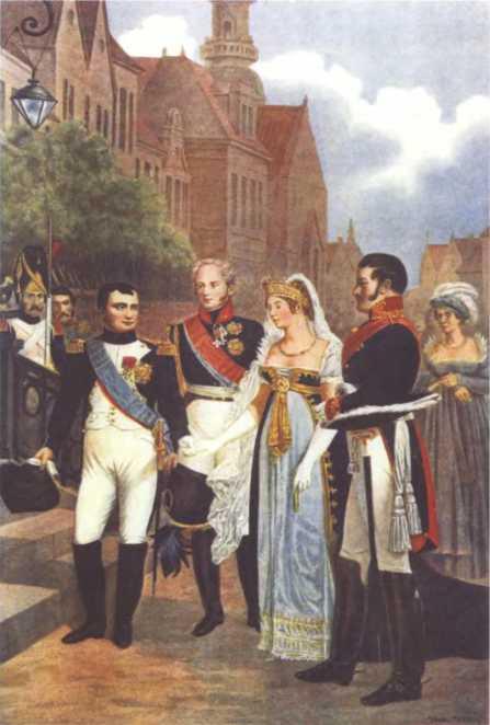 Императоры Наполеон I и Александр I и королевская чета Пруссии (Луиза и Фридрих-Вильгельм III) в Тильзите. Худ. Ф.Л.Н. Госсе.