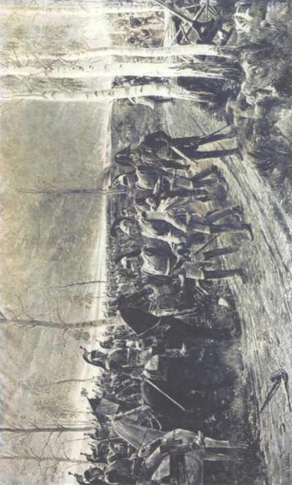 «Вечер Бородина. Генерала О. Коленкура, убитого на Курганной высоте, переносят его солдаты». Худ. А. Ля-Лоз.