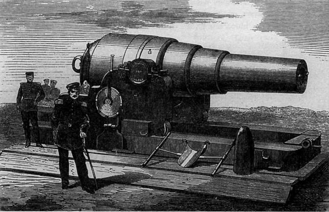 """210-мм орудия системы Армстронга, бывшие на вооружении монитора """"Арминиус"""". С гравюры того времени."""
